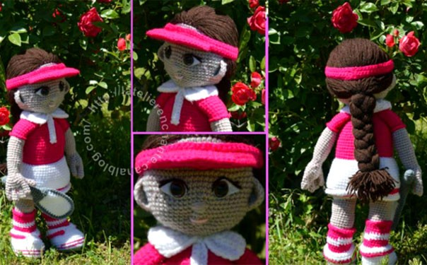 Вязаная кукла. Теннисистка Доминика. Крючком. Описание