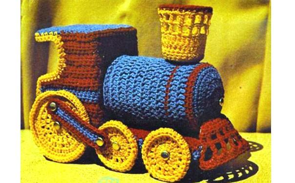 Вязаная игрушка. Ретро-паровоз. Крючком. Описание
