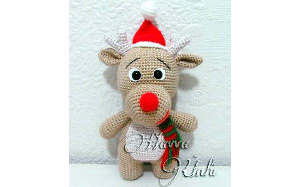 Вязаная игрушка. Рождественский олень. Крючком. Описание