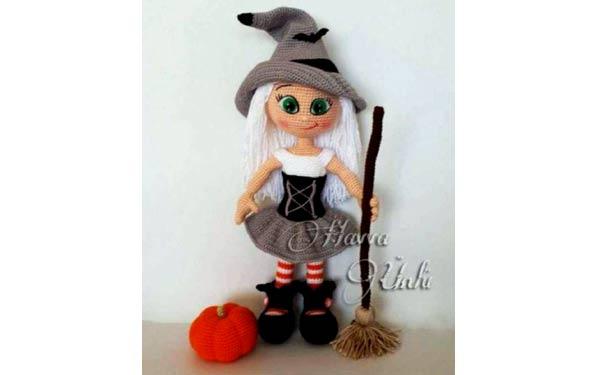 Вязаная крючком Кукла Ведьмочка. Описание