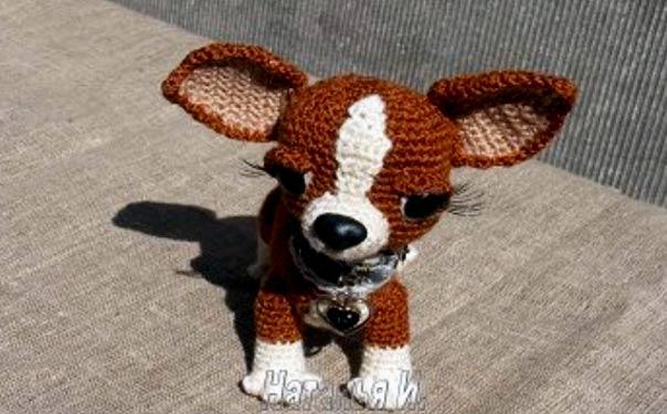 Вязаная крючком игрушка. Собака мисс Чи. Описание