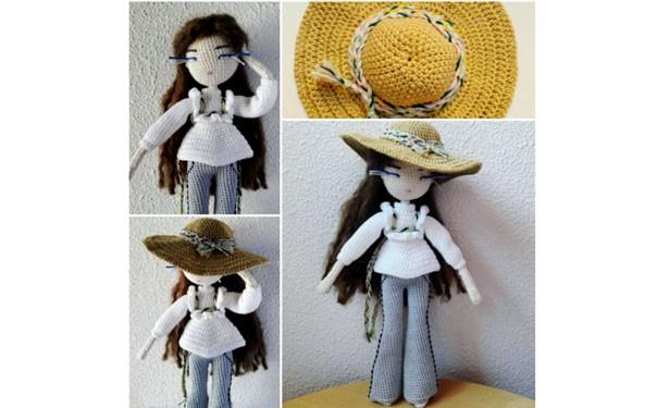 Вязаная крючком кукла в шляпе. Описание