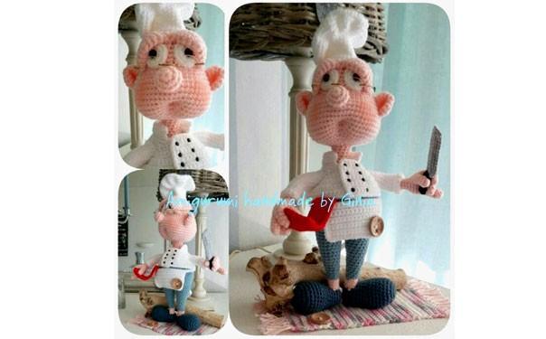 Вязаная крючком кукла-повар. Описание