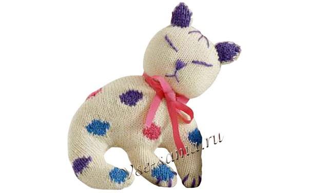 вязаная кошка с бантиком описание тыква вязаные игрушки