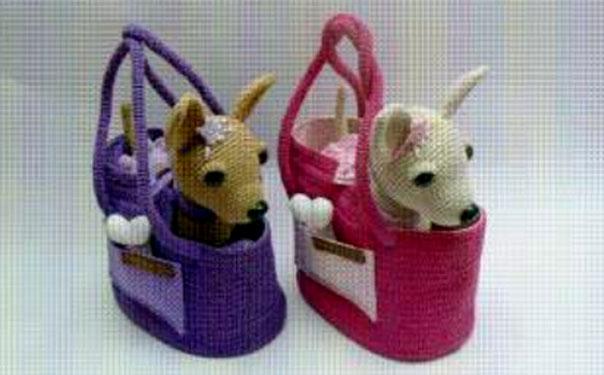 Вязаная собака чау-чау в сумочке. Схема