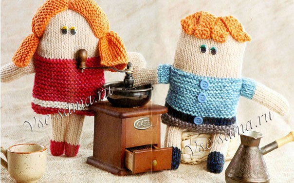 Вязаные куколки-кофеманы. Описание