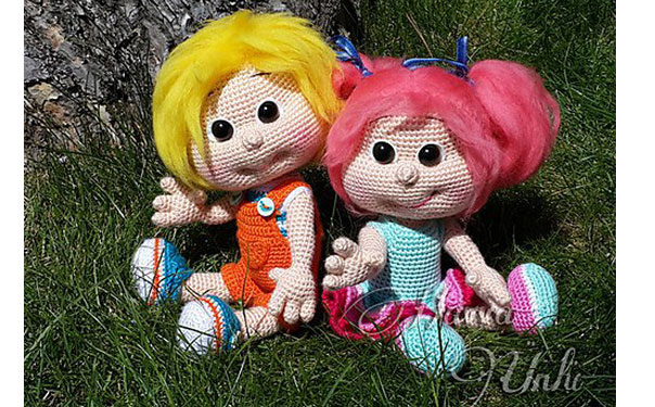 Вязаные куклы Сэм и Кети. Крючком. Схема