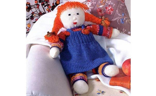 Вязаная кукла в сарафане. Описание. Спицами