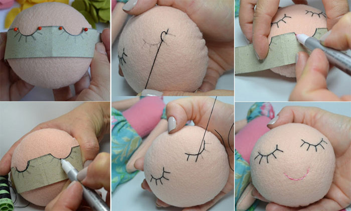 Интересный способ оформления (разметка) лица вязаной куклы. Мастер-класс
