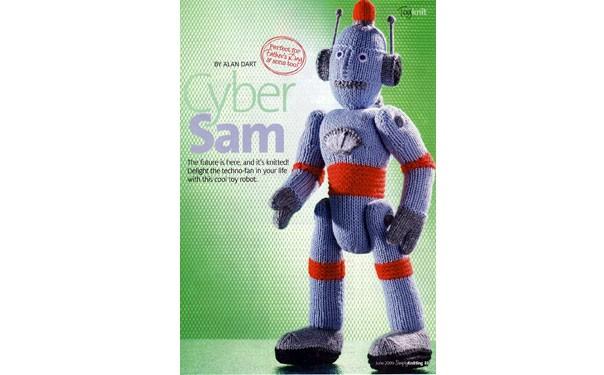 Вязаный спицами робот. Описание