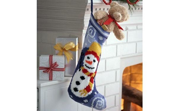 Рождественский сапожок. Спицами. Схема