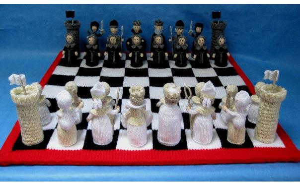Вязаные спицами шахматы. Описание
