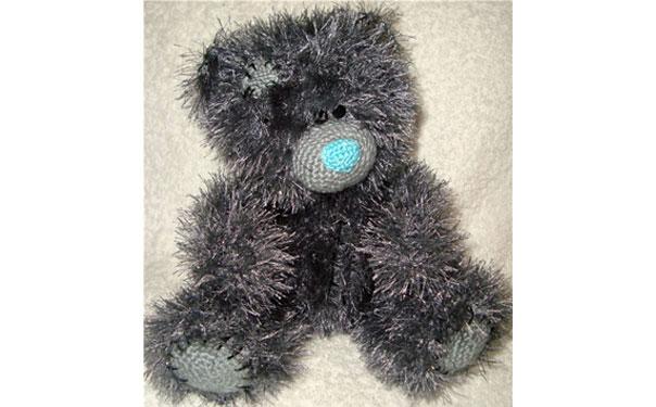 Вязаный пушистый спицами мишка Тедди. Описание