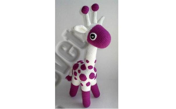 Вязаный фиолетовый жираф. Крючком. Схема