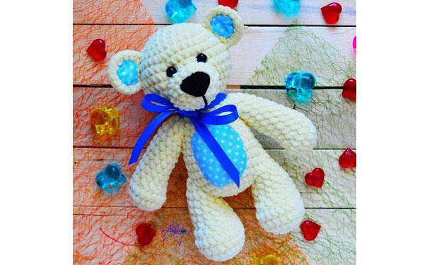 Вязаная погремушка-медвежонок. Схема