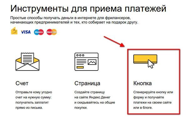 Кнопка Яндекс. Прием платежей