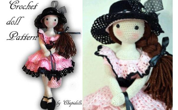 Вязаная кукла в черной шляпке. Схема