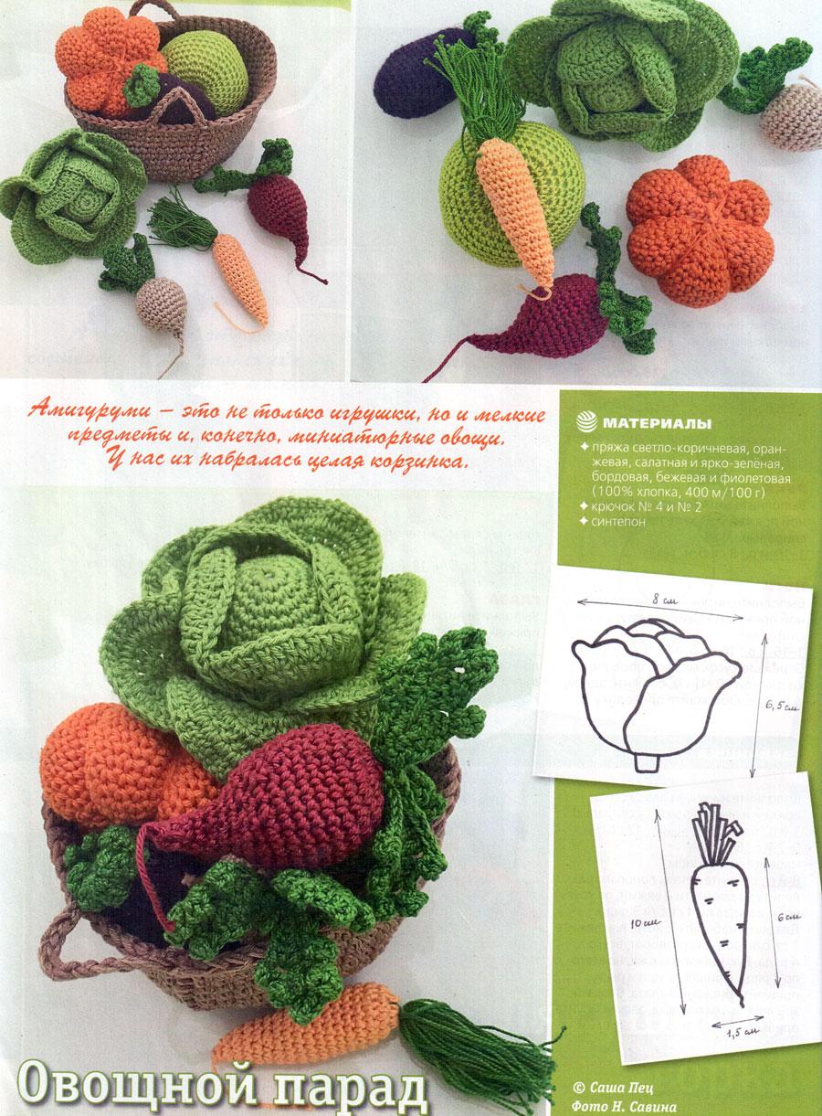 Вязаная корзинка с овощами