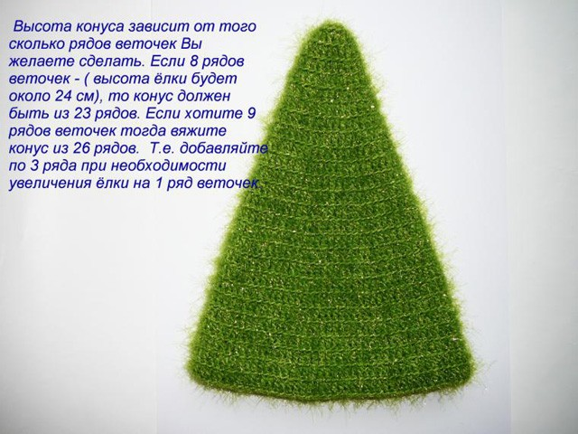 Вязаная пушистая новогодняя елка