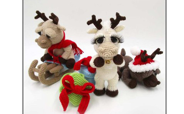 Вязаные Рождественские оленята. Схема