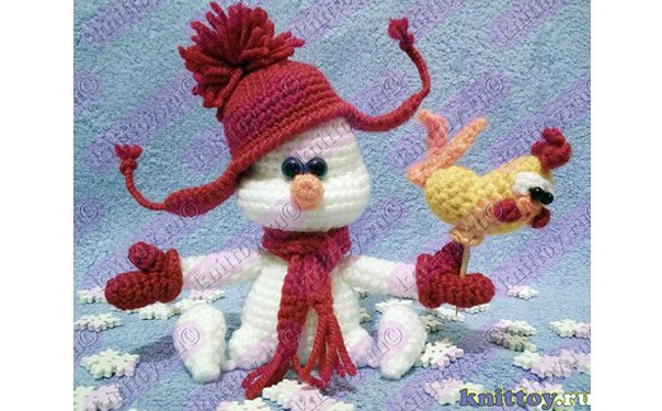Вязаный снеговик с петушком. Схема