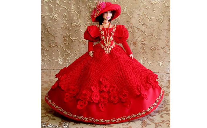 Вязаное крючком красное платье для куклы. Схема