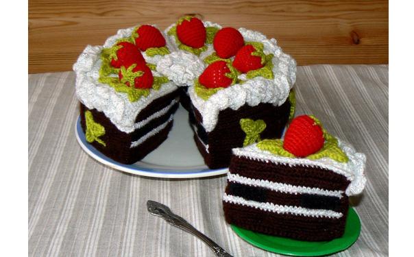 Вязаный шоколадный торт. Схема