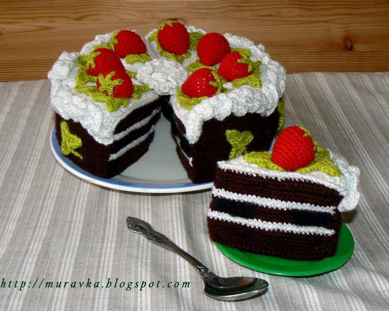 Вязаный шоколадный торт
