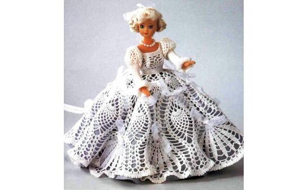 Вязаное ажурное платье для Барби. Схема