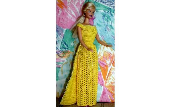 Вязаное платье для Барби. Схема