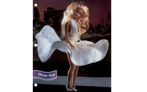 Вязаное платье Мерилин Монро для Барби. Схема