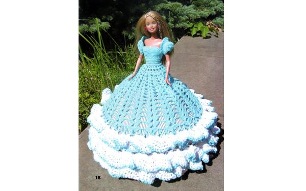 Платье с белой оборкой для Барби