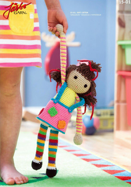 Вязаная куколка в радужных цветах. Схема