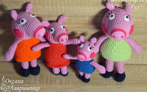 Вязаное семейство свинки Пеппа. Схема