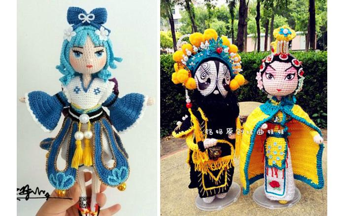 Вязаные куклы - персонажи китайской оперы
