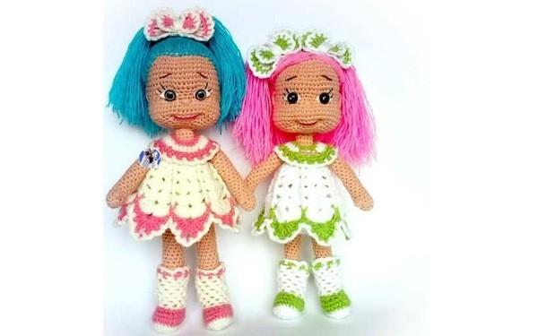 Вязаные куклы - подружки Наташи