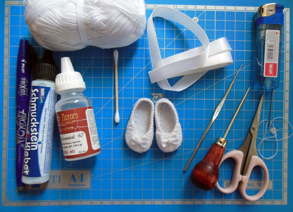 Вяжем балетки для куклы