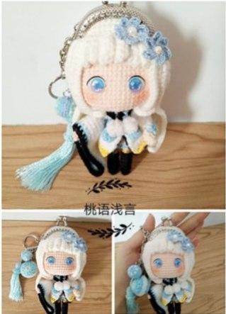 Вязаный кошелек-куколка