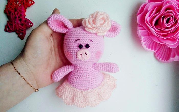 Вязаная свинка Пухля. Схема