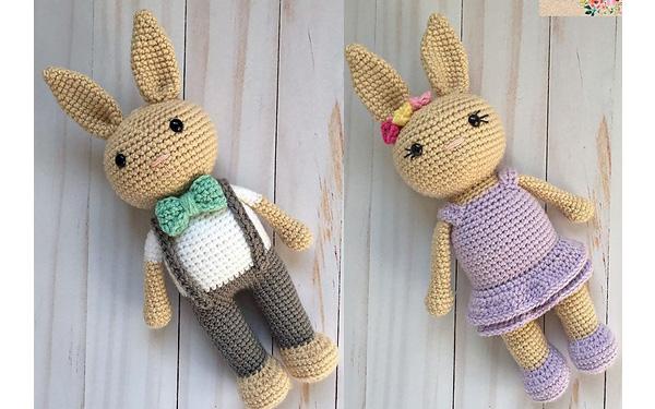 Вязаные кролики Мальчик и Девочка