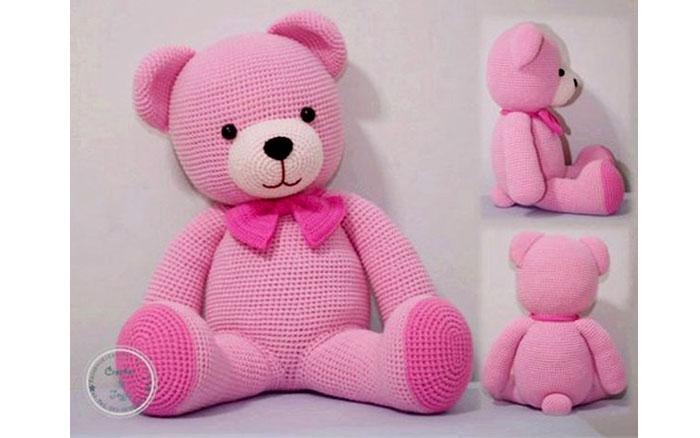 Вязаный розовый мишка. Схема