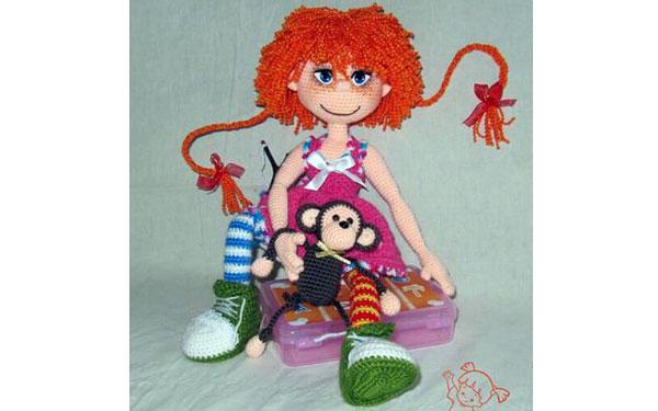 Вязаная кукла Пеппи Длинный чулок. Схема