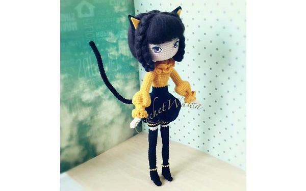 Вязаная крючком кукла леди Кошка. Схема