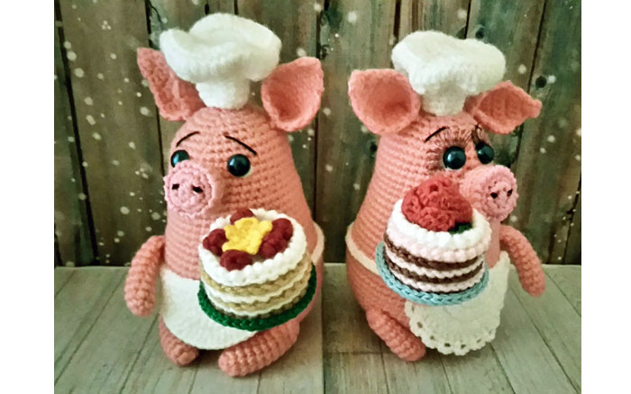 Вязаная свинка повар-кондитер. Схема