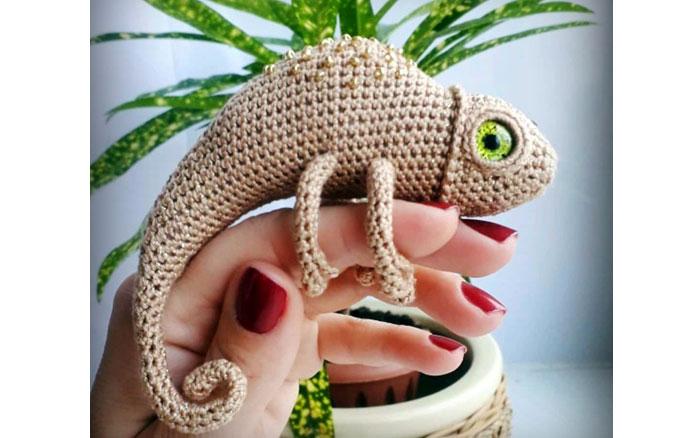 Вязаный крючком хамелеон. Схема