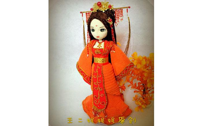Вязаная Кукла Китайская принцесса. Схема