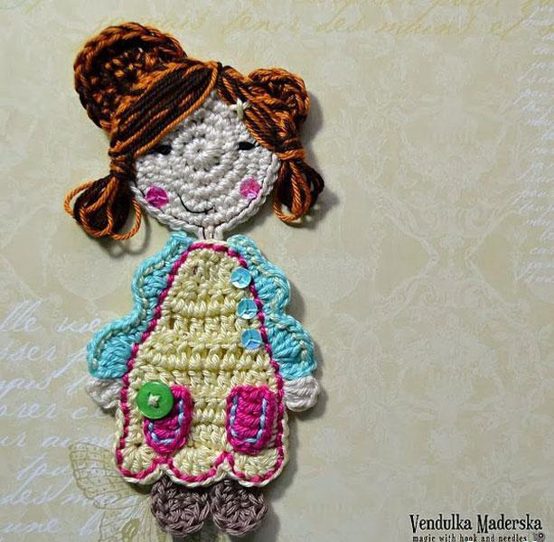 Вязаная аппликация кукла Vendulka Maderska