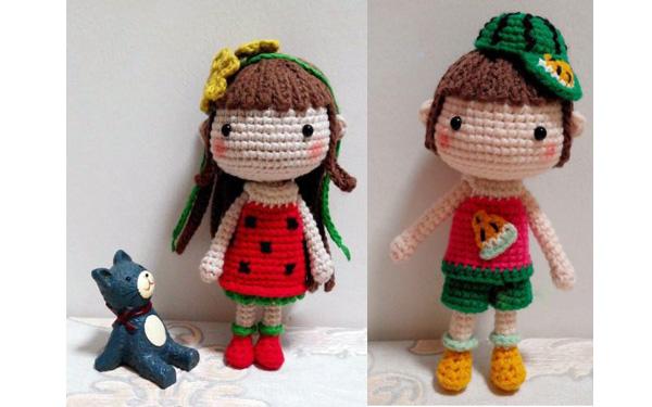 Вязаная кукла Арбузная девочка