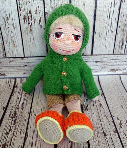 Вязаная кукла Мальчик в курточке. Схема