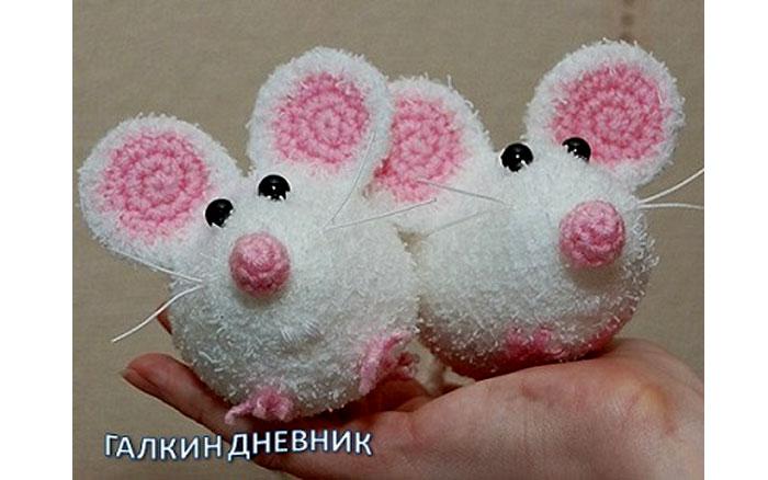 Вязаная мышка Розовые ушки. Схема